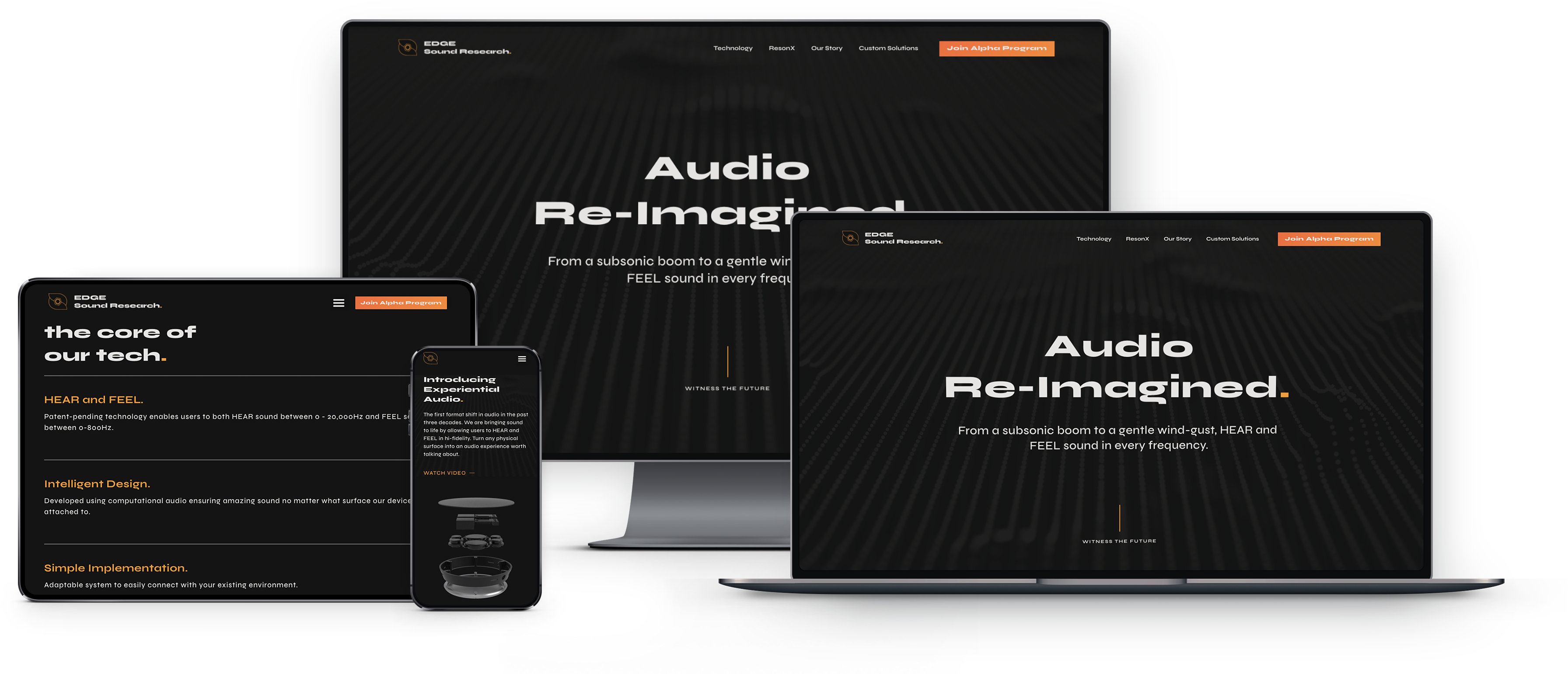 The EDGE Sound Research website shown on different screen sizes