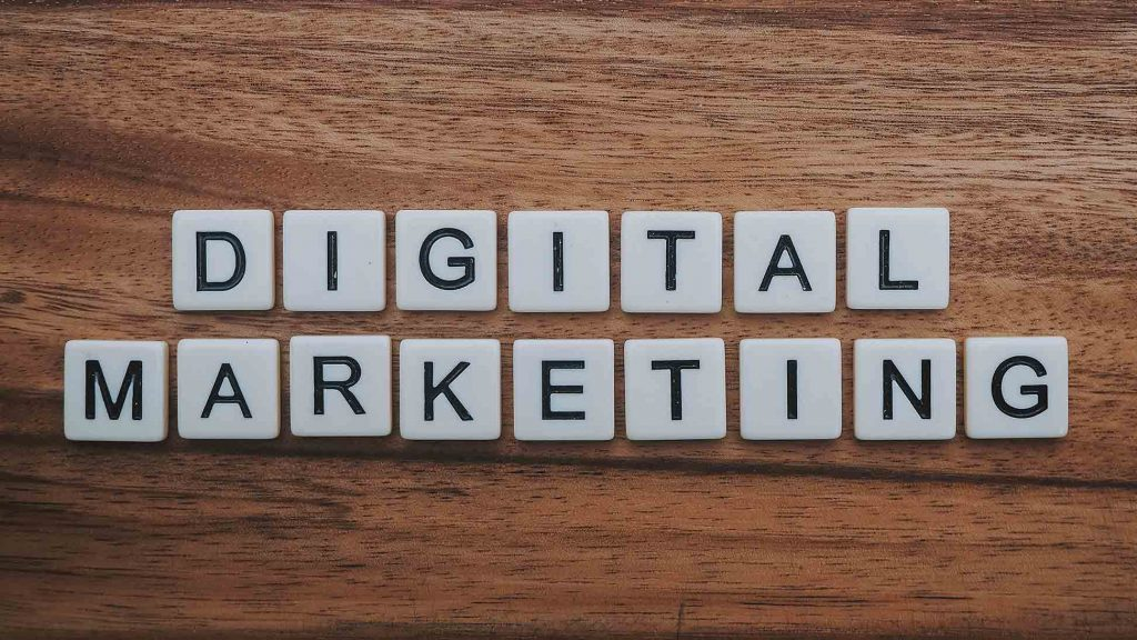 Digital Marketing spelled out using letter pieces