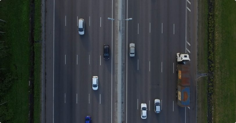 An aerial view of cars on the highway for Dashcam Viewer